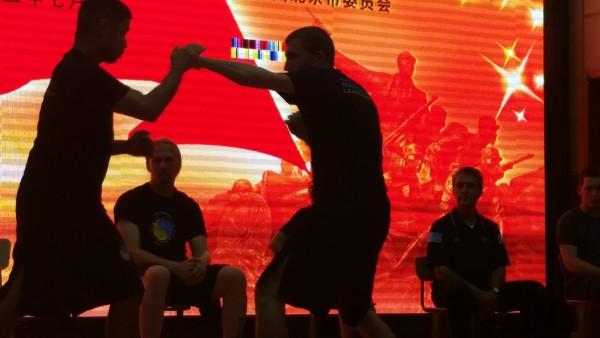Sensei Adam demonstrates martial arts for top Beijing High School Students
