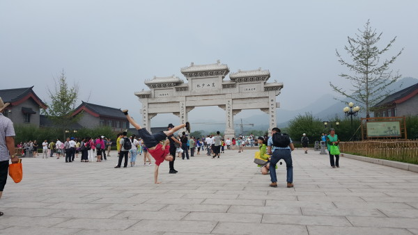 Sensei Adam does L Kick at the main gate to the Shaolin Temple