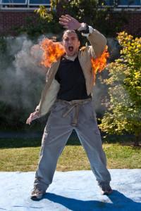 Sensei Adam Rector does a Fireburn at Stunt School