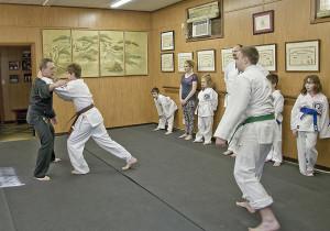 Brown belt practices attack